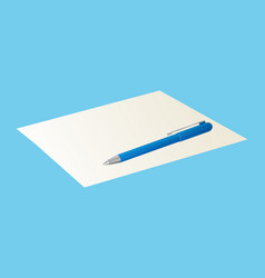 pen on blank sheet of paper isolated on blue icon vector image