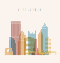 pittsburgh city skyline colorful silhouette vector image vector image