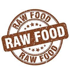 raw food brown grunge round vintage rubber stamp vector image vector image