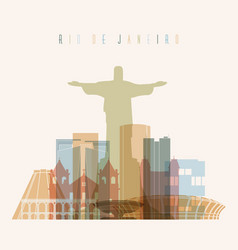 Rio de janeiro brazil city skyline vector