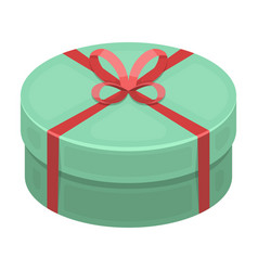 round green gift with a red ribbon a box for a vector image