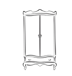 Sketched vintage wardrobe isolated on white vector image