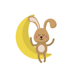 Teddy rabbit seated in the moon vector