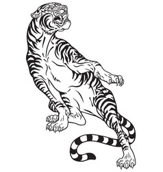 tiger tattoo black white vector image vector image