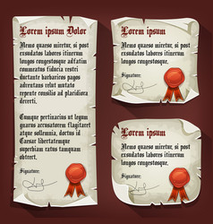 Vintage medieval letters with wax seals vector