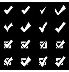 White confirm icon set vector