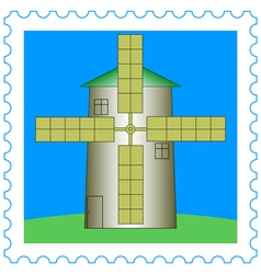 Windmill on stamp vector image vector image