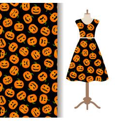 Womens dress fabric pattern with pumpkin vector