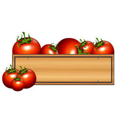 Wooden board with fresh tomatoes vector
