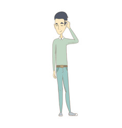 Young asian man scratching his head vector
