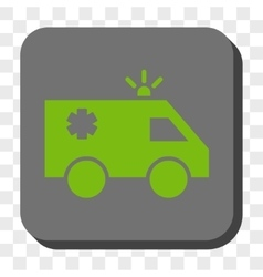 Emergency car rounded square button vector