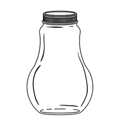 Silhouette wide glass bottle with lid vector