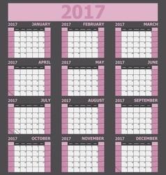 Calendar 2017 week starts on sunday light pink vector