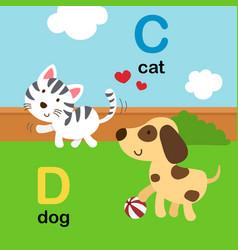Alphabet letter c-cat d-dog vector
