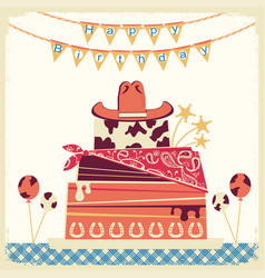 Cowboy happy birthday card with cake and cowboy vector