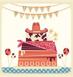 Cowboy happy birthday card with cake and cowboy vector