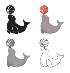 Trained fur seal icon in cartoon style isolated on vector