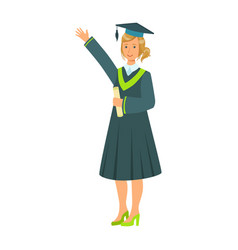 Graduate girl student in mantle holding diploma vector