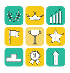 Victory and success set of flat icons vector