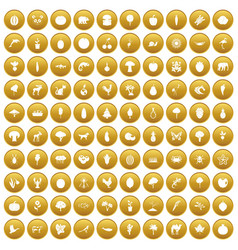 100 live nature icons set gold vector