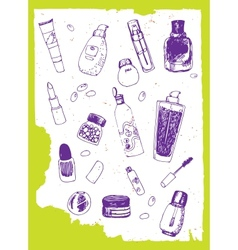 Set of cosmetics doodles vector
