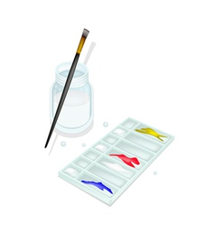 Color paint in whtie plastic palette with brushes vector