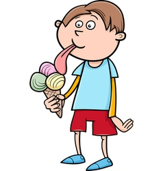 Kid with ice cream cartoon vector