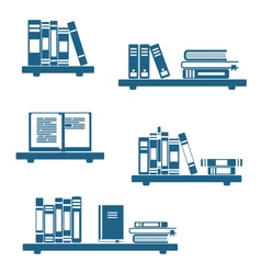 Books on bookshelves vector