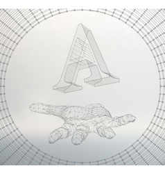 letter A of lines and dots on the arm The vector image