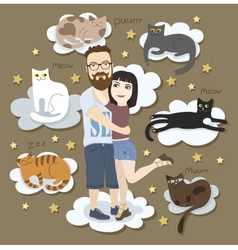 Couple in love with cats vector