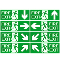 Fire exit signs vector