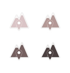 Set of paper stickers on white background mountain vector image