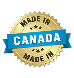made in Canada gold badge with blue ribbon vector image
