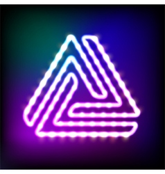 Glowing neon triangle with light bulbs vector