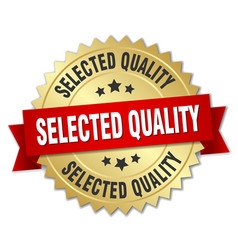 Selected quality 3d gold badge with red ribbon vector