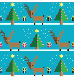 Geometric xmas pattern with reindeer vector