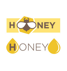 Abstract logo design with text honey isolated vector