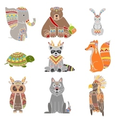 Animals wearing tribal clothing set vector