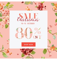 Autumn sale floral hortensia banner - for discount vector