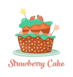 Baked strawberry cake dessert food vector