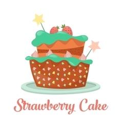 Baked strawberry cake dessert food vector