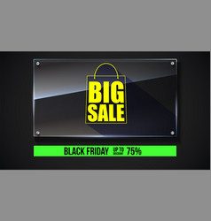 Big sale text banner on black backdrop ready to vector