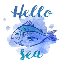Blue watercolor texture and fish vector image vector image