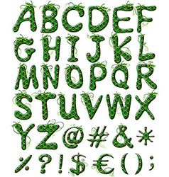 Capital letters of the alphabet in green color vector