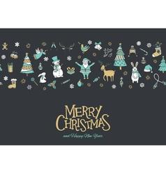 Christmas pattern banner grey vector