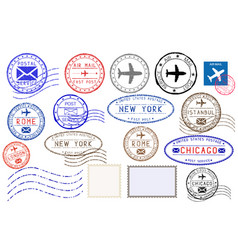 collection of colored postal stamps from different vector image