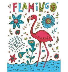 Colorful hand drawn poster with flamingo and hand vector