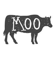 Cow Silhouette with Moo Text vector image vector image