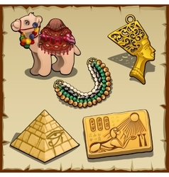 Egyptian symbols and toy camel five items vector