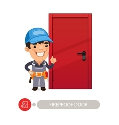 Fireproof door and worker vector